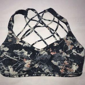 LULEMON Y SPORTS BRA floral strappy sz 6 euc